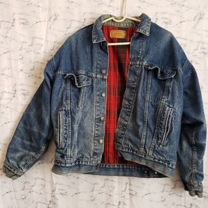 Vintage Levi's Jean Jacket w/ Red Plaid Interior